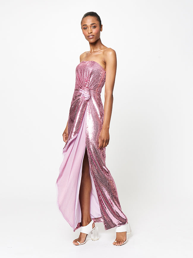 STRAPLESS SIDE GATHERED SEQUIN GOWN