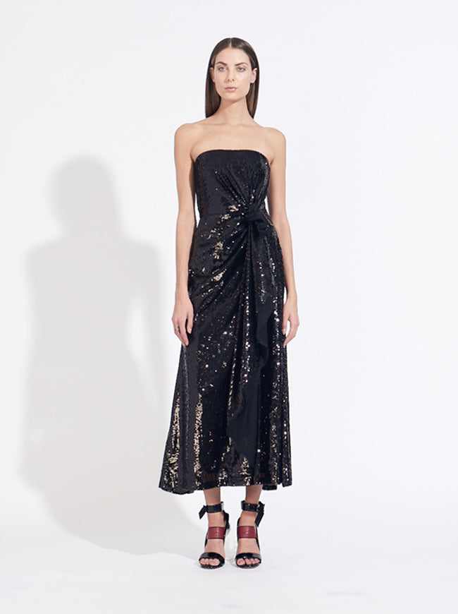 STRAPLESS SIDE GATHERED SEQUIN DRESS