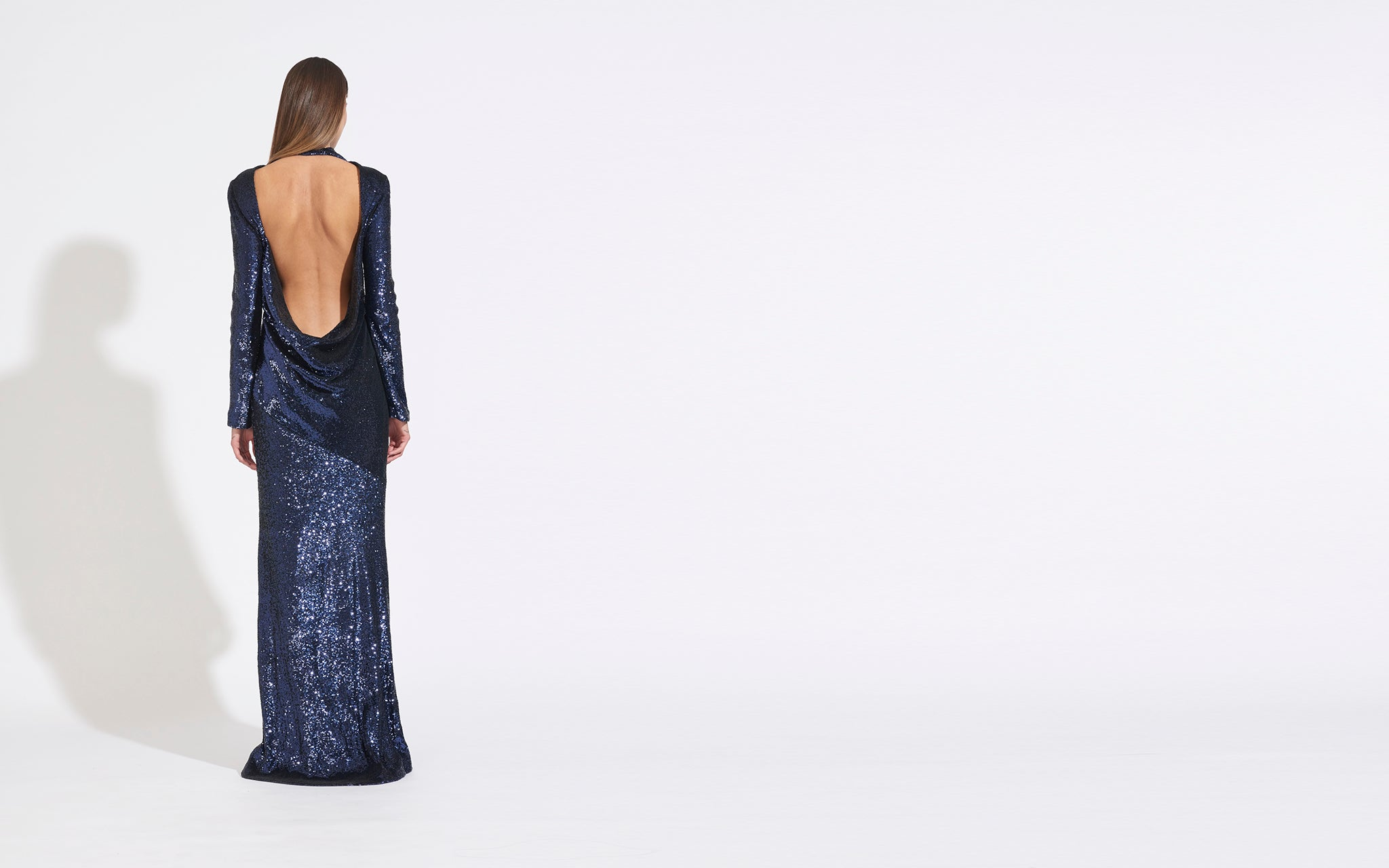 DPAPED OPEN BACK SEQUIN GOWN