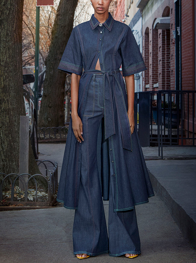 Prabal Gurung denim short sleeve shirt dress