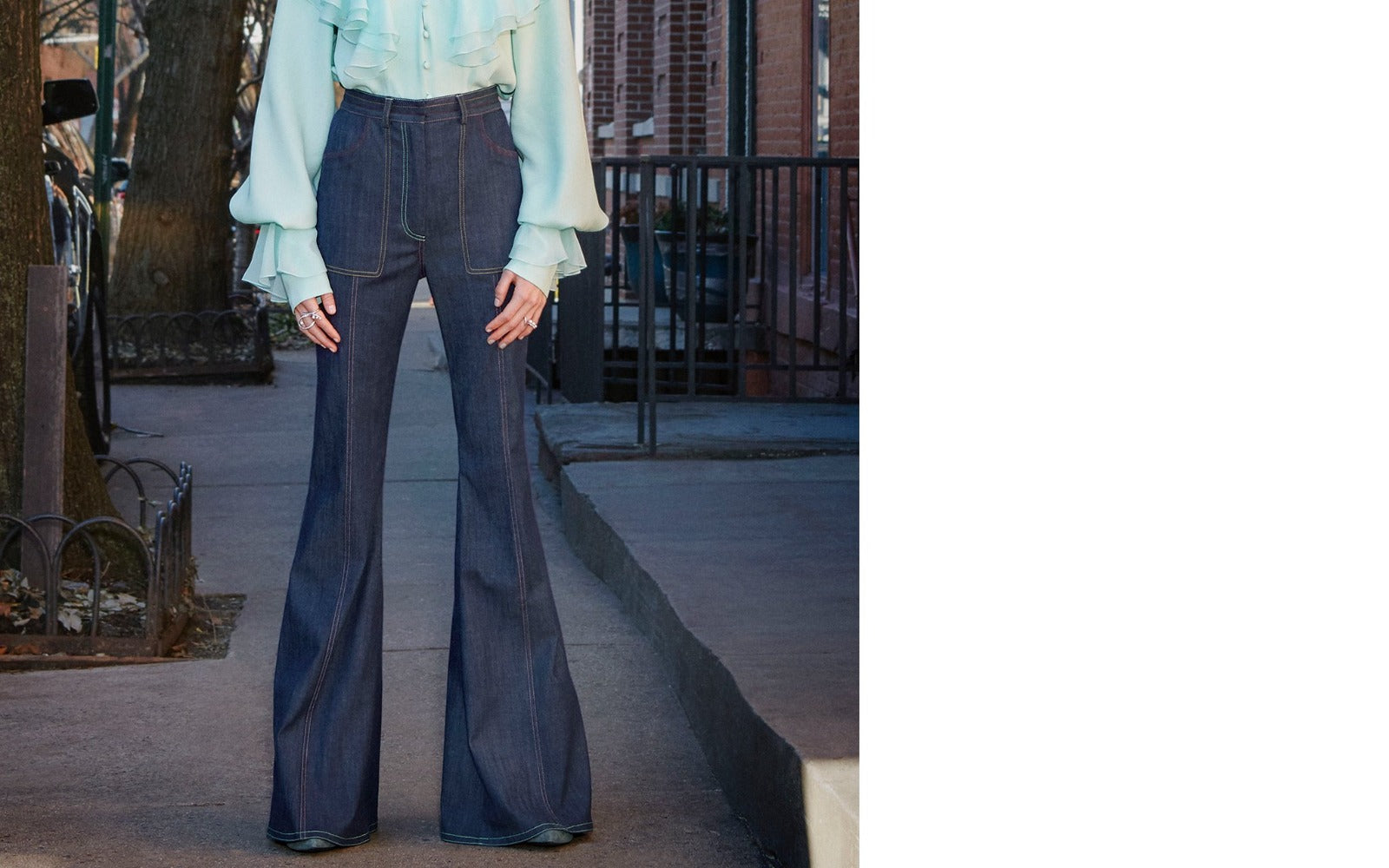 HIGH WAISTED TOP STITCH BOOT LEG PANTS