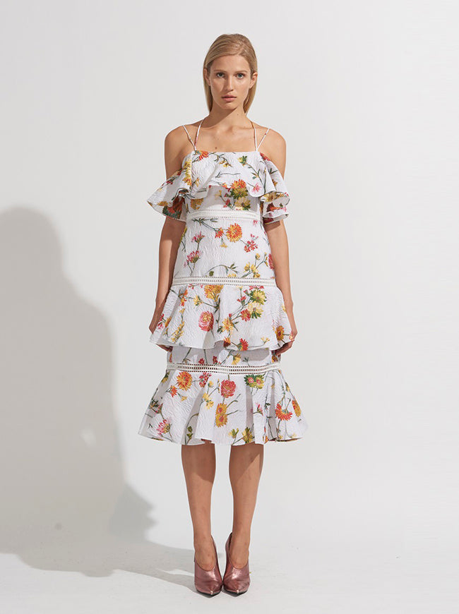 FLORAL HALTER STRAP TIERED DRESS
