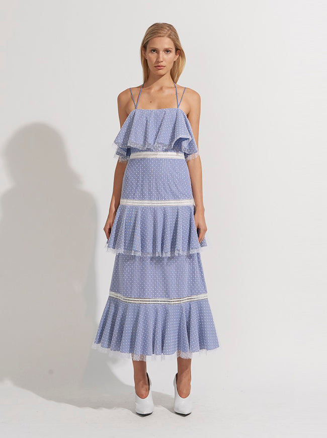 TIERED HALTER STRAP DRESS