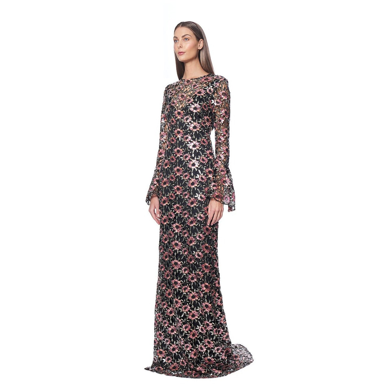 LONG FLARED SLEEVE LACE GOWN
