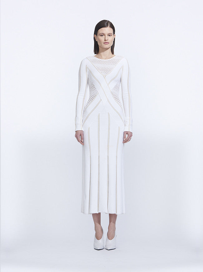 Long Sleeve Knit Dress, White