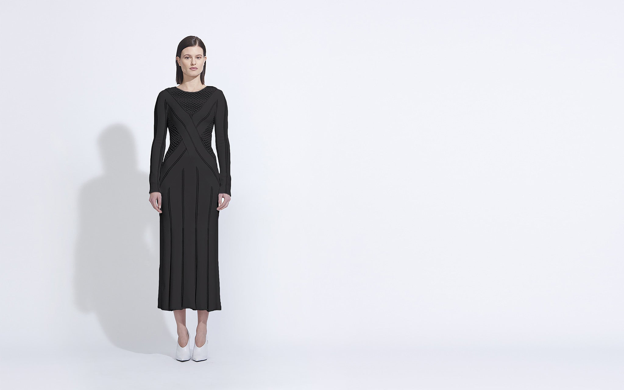 Long Sleeve Knit Dress, Black