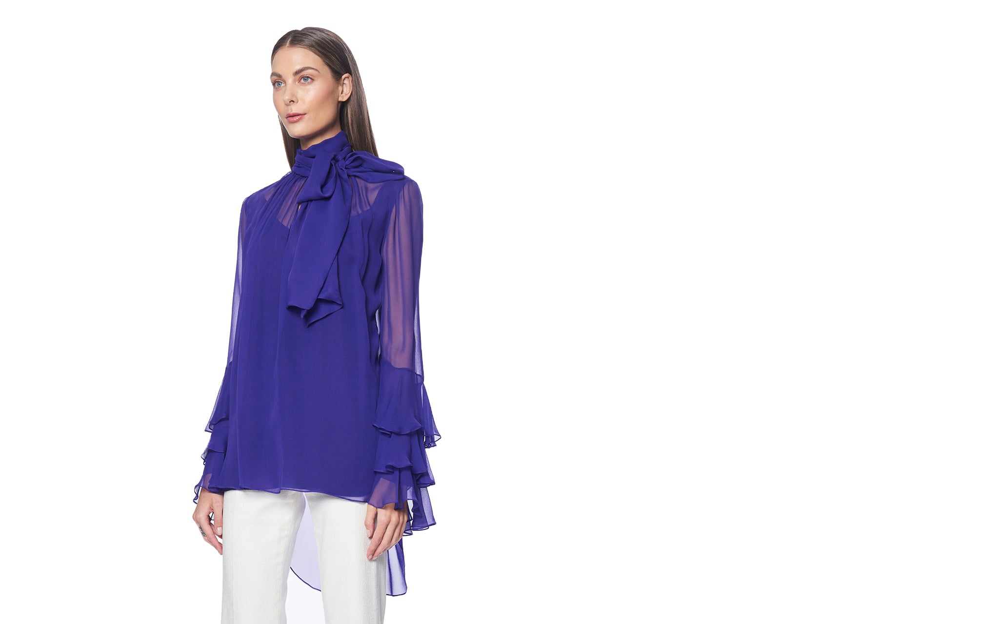 VIOLET RUFFLE CUFF TIE NECK BLOUSE
