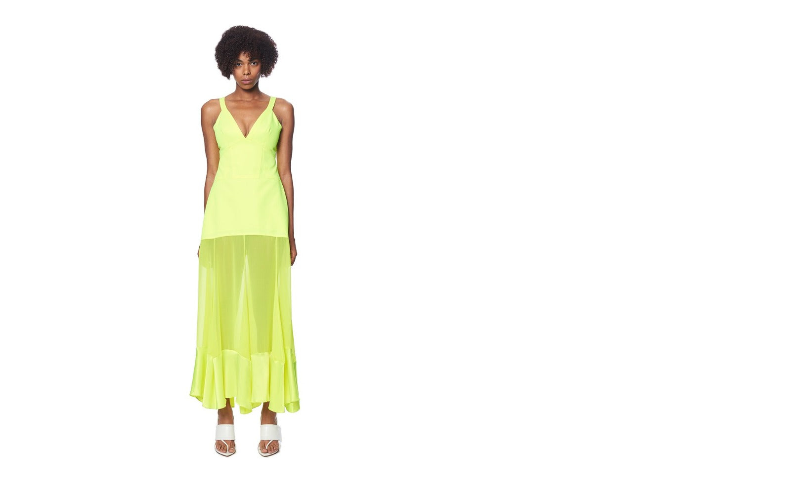 NEON YELLOW MAGHI COMBO TANK DRESS