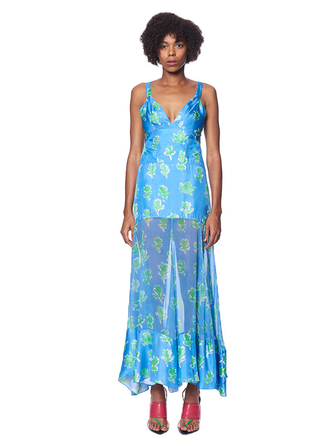SKY BLUE MAGHI COMBO TANK DRESS