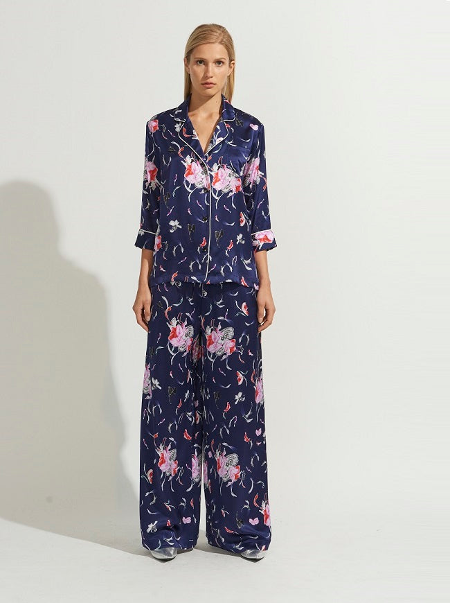 NAVY FLORAL SILK PAJAMAS