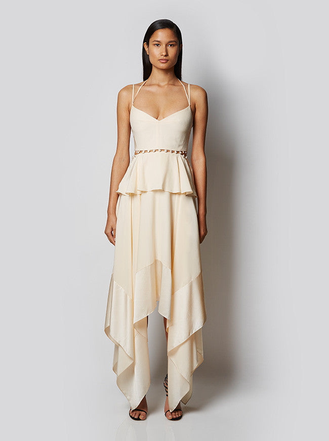 Ivory Thin Strap Handkerchief Hem Dress