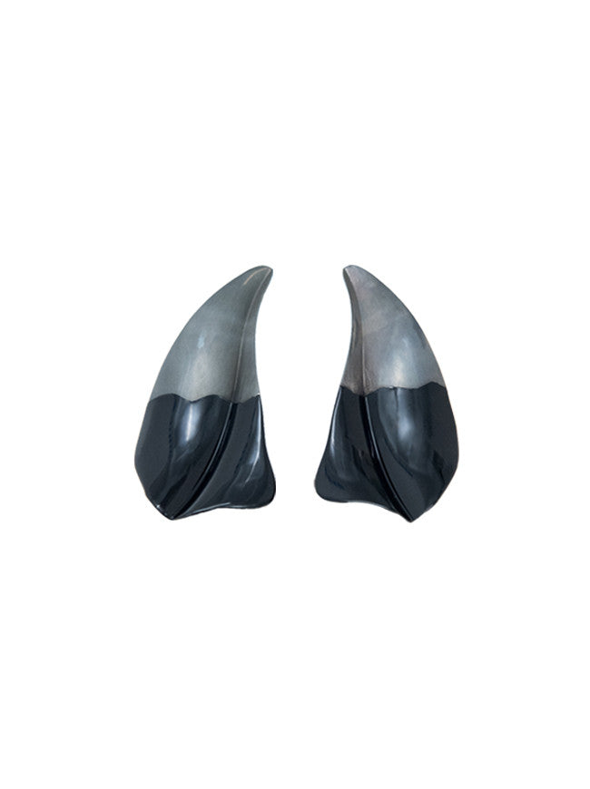 Sculptural Petal Earrings, Black