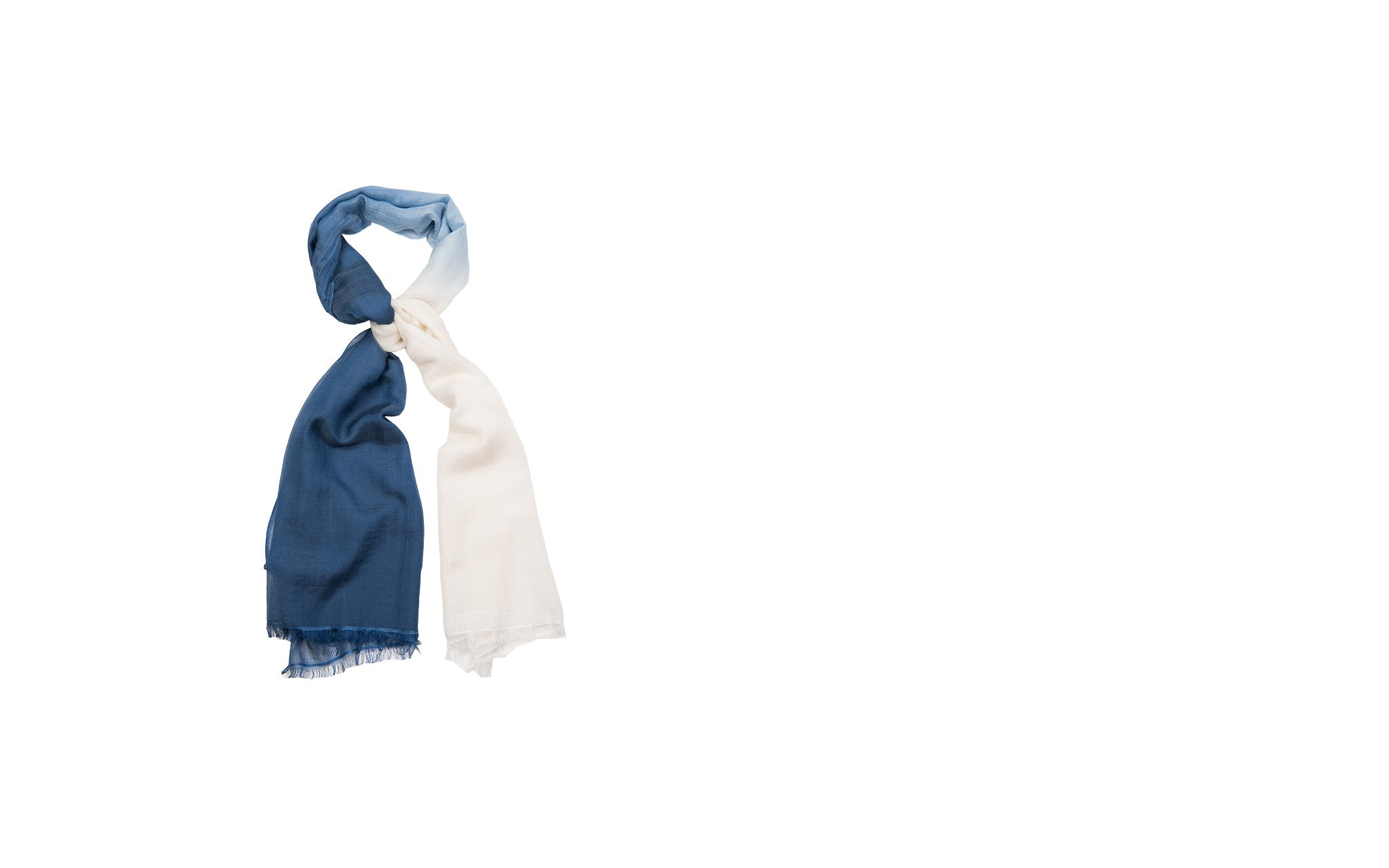 Blue and White Cashmere-silk Blend Scarf