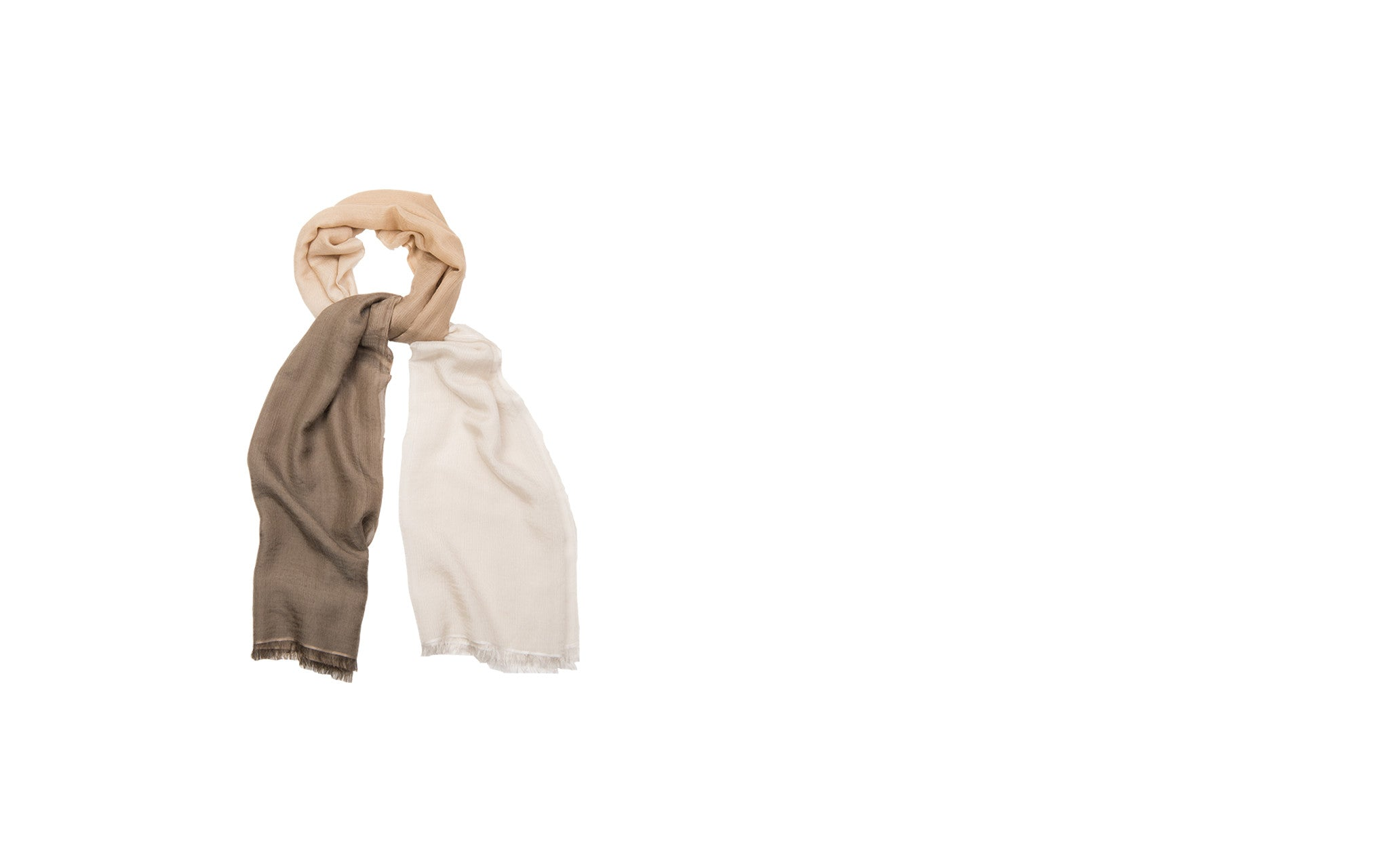 Khaki and White Ombré Cashmere-Silk Blend Scarf