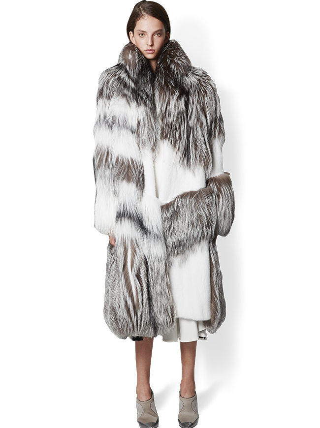 Marble Fox and Mink Fur Coat