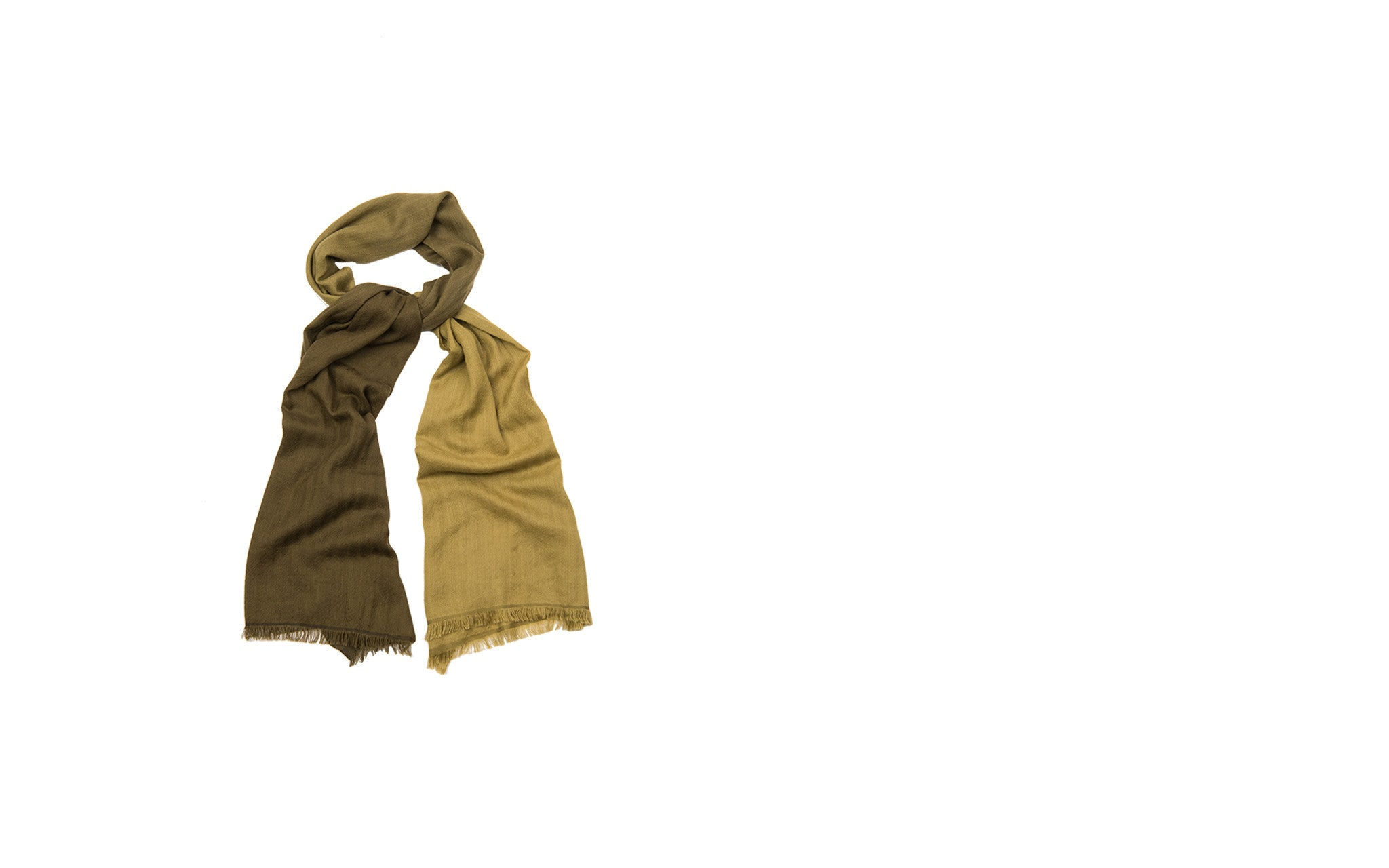 Two-toned Olive Cashmere Scarf