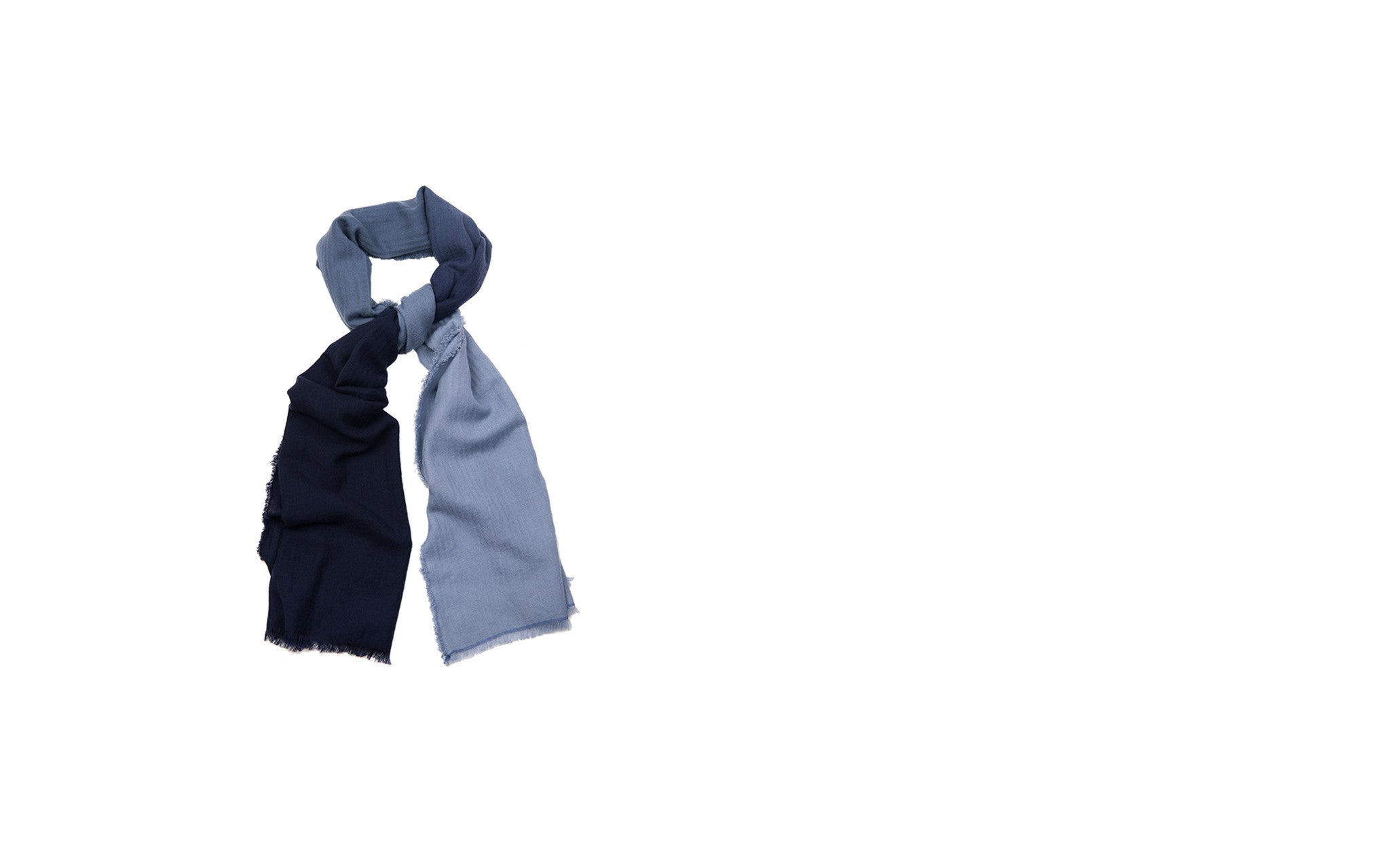 Midnight and Sky Ombré Cashmere Scarf