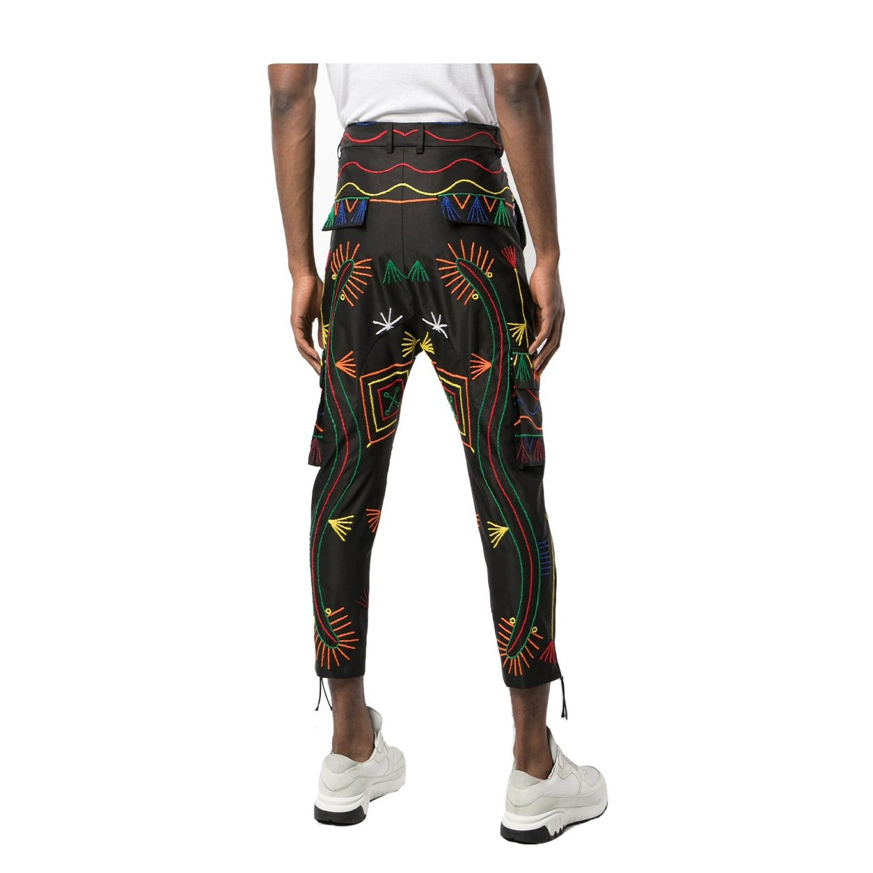 BLACK EMBROIDERED CARGO TROUSER