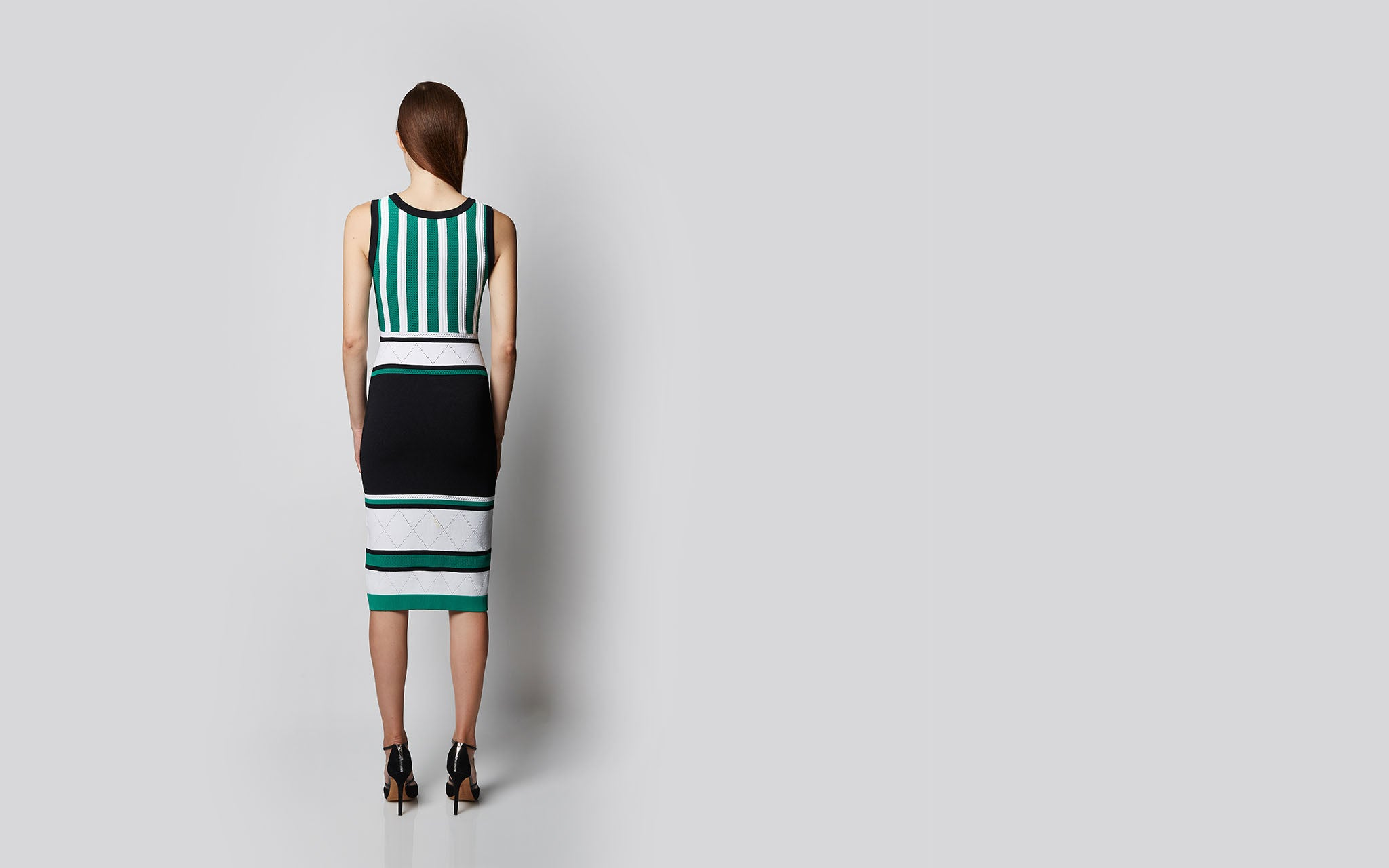 Graphic Striped Knit Dress