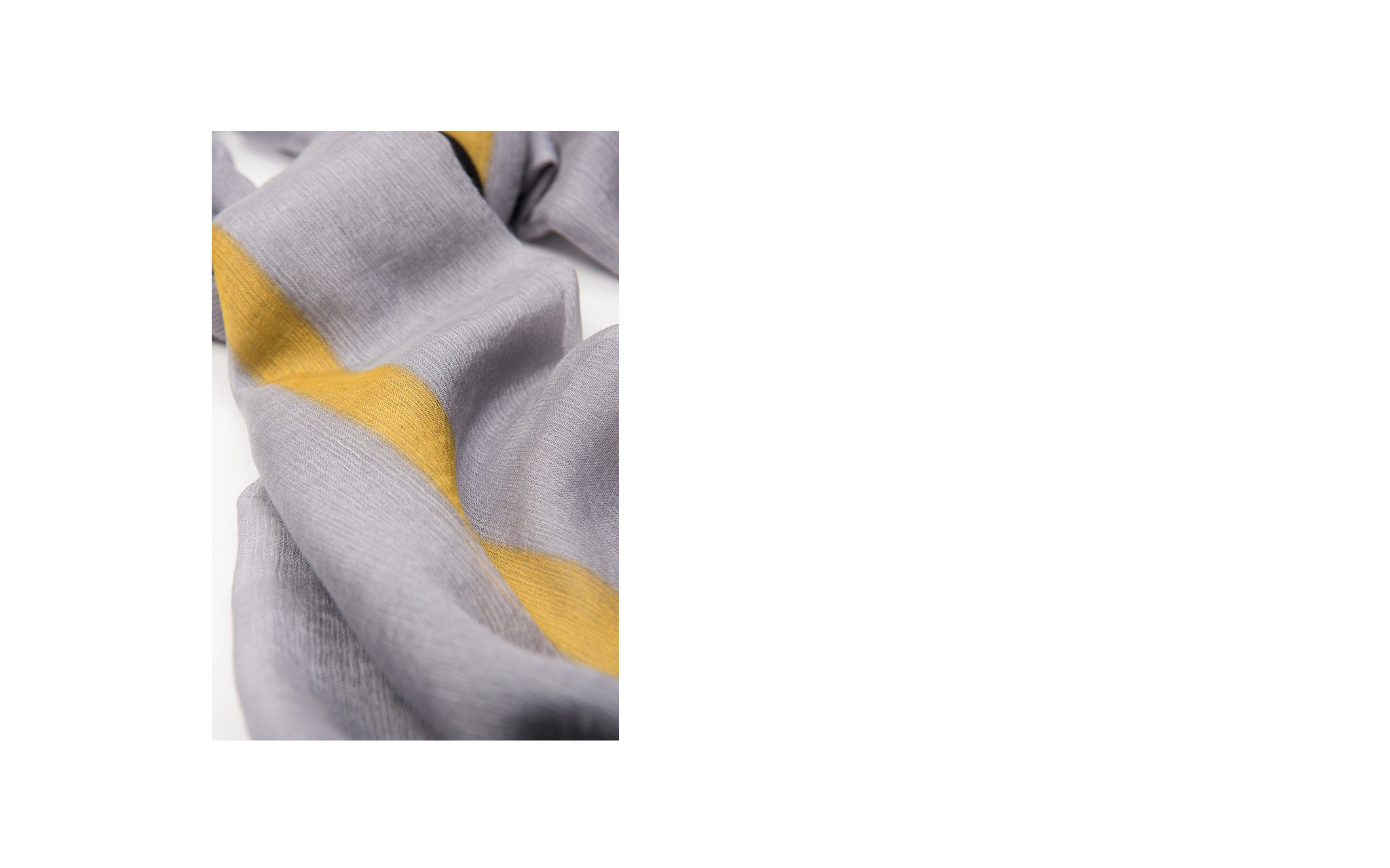 Grey, Black and Yellow Cashmere-Silk Blend Scarf