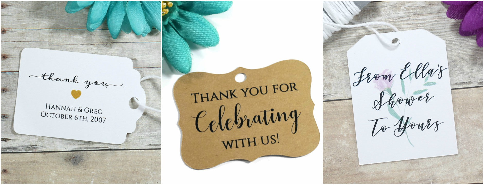 Wedding and Bridal Shower Thank You Tags
