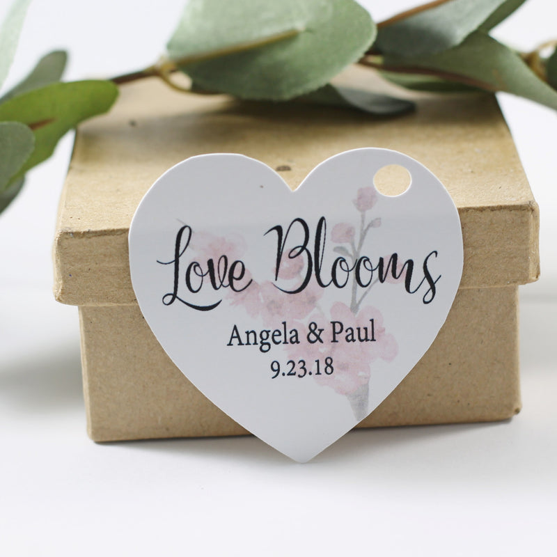 Love Blooms Heart Shaped Wedding Tags
