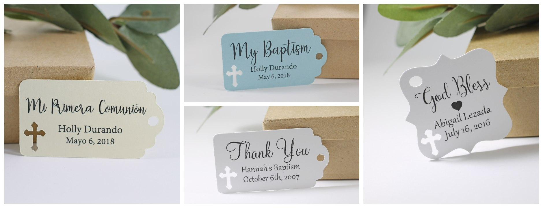 Baptism favor tags for christening and religious events