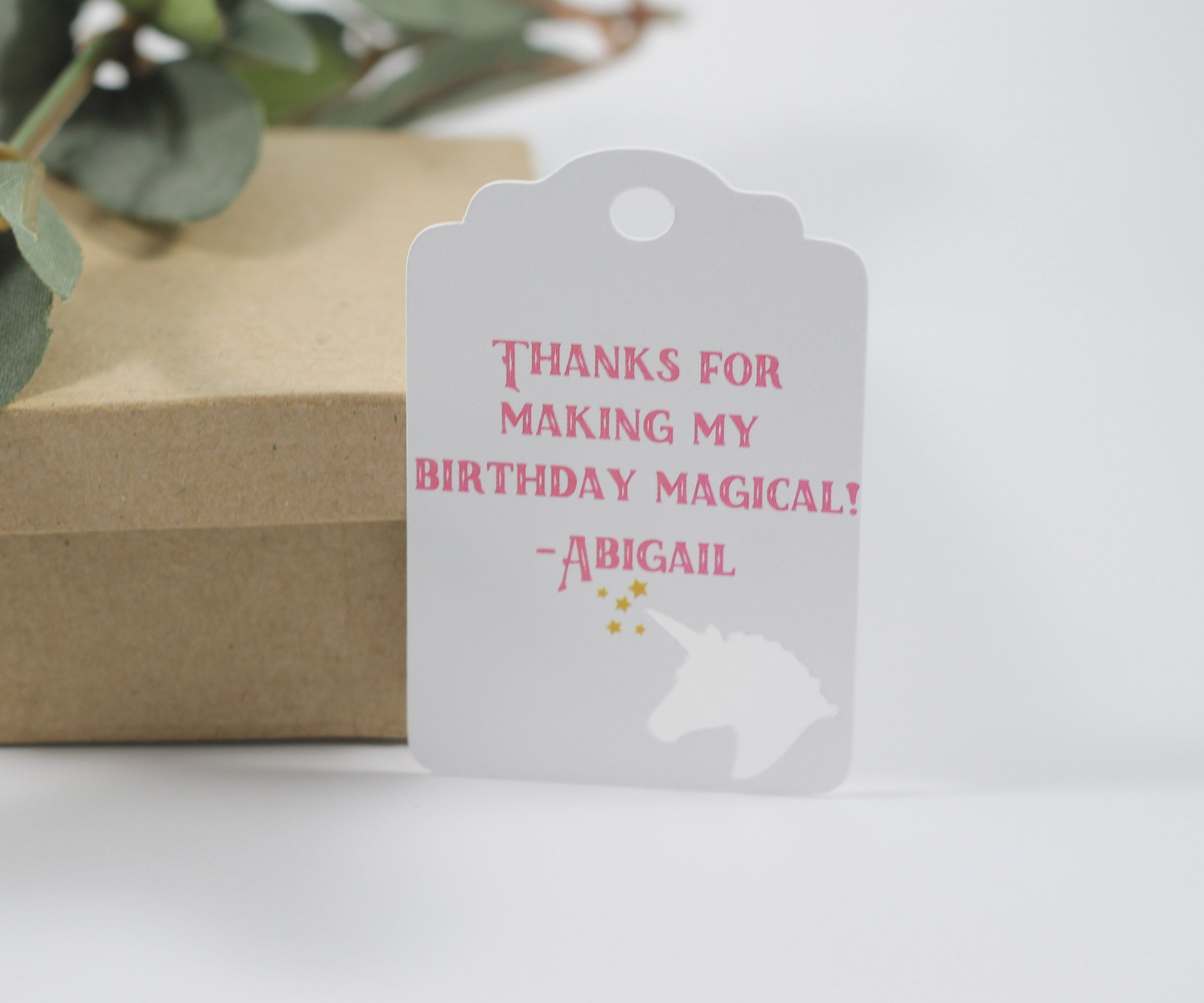 Unicorn Party Tags in Pink (Set of 20)-Party Tags-The Paper Medley