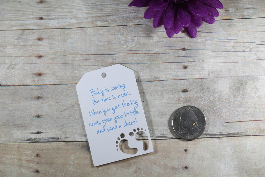 Baby Shower Tags with Feet with Feet - Baby is Coming - Blue Text - 20pc-Baby Shower Tags-The Paper Medley