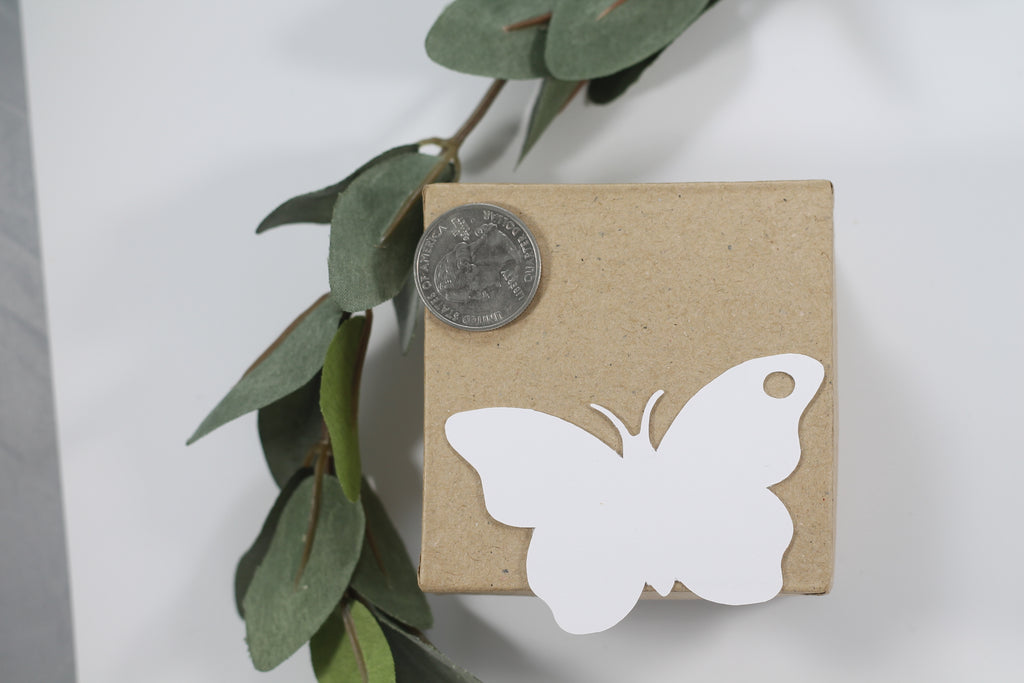 Baby Shower Tags - Butterfly Shape - Butterfly Kisses and Baby Wishes - White - 20pc-Baby Shower Tags-The Paper Medley