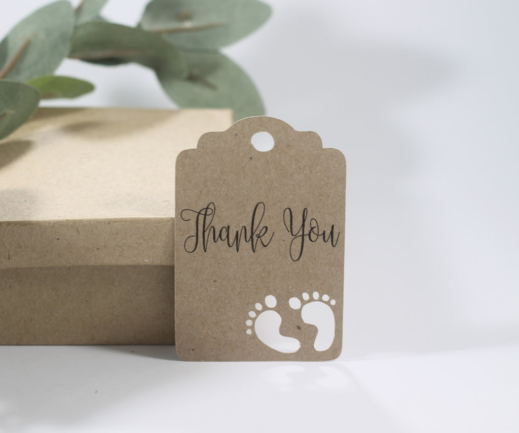 Baby Shower Tags with Feet - with Feet - Thank You - Kraft Brown - 20pc-Baby Shower Tags-The Paper Medley