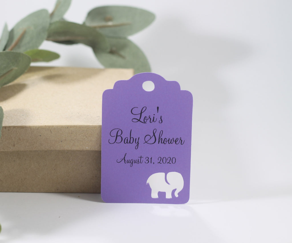Custom Baby Shower Tags with Elephant - Purple - 20pc-Baby Shower Tags-The Paper Medley