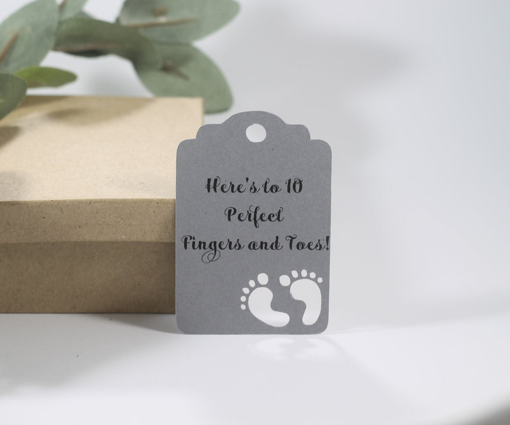 Baby Shower Tags - Grey - 10 Perfect Fingers and Toes - 20pc-Baby Shower Tags-The Paper Medley