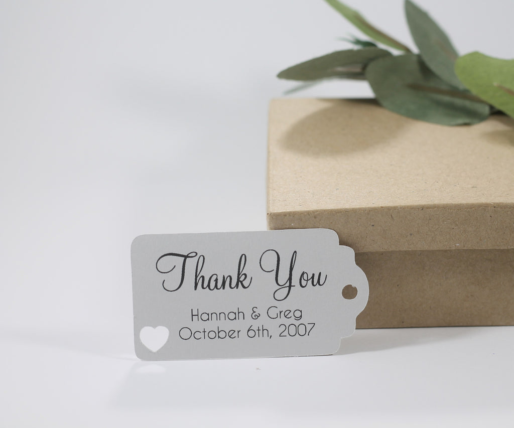 Small Custom Wedding Tags - Thank You - Light Grey - 20pc-Wedding Tags-The Paper Medley