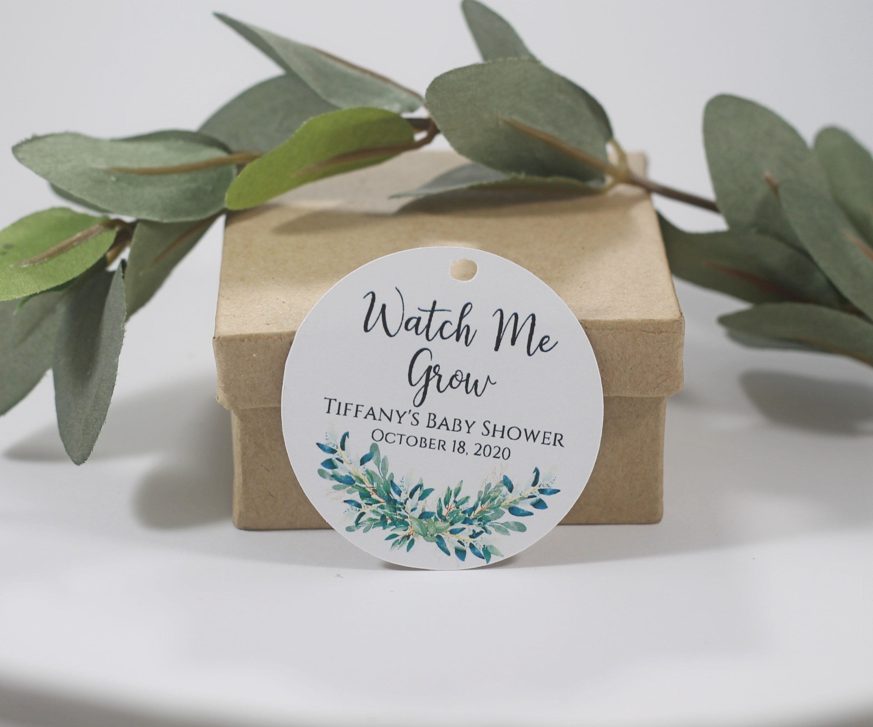 Baby Shower Tags - Circle Shape - Watch Me Grow - Greenery - White - 20pc