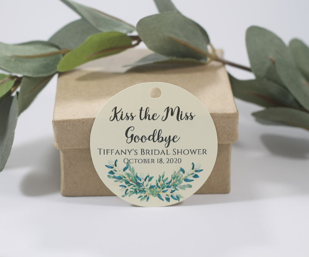 Personalized Bridal Shower Tags with Greenery - Kiss the Miss Goodbye - Cream - 20pc-Bridal Shower Tags-The Paper Medley