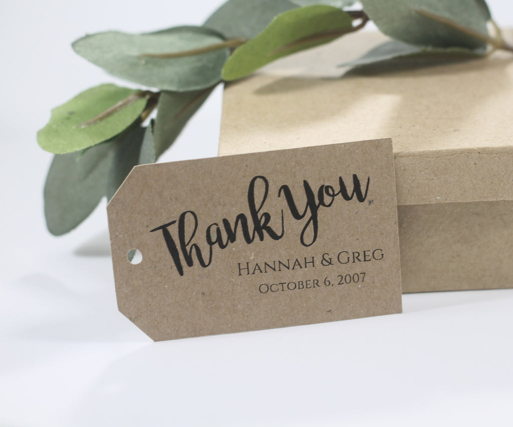 Personalized Wedding Tags - Thank You - Kraft Brown - 20pc-Wedding Tags-The Paper Medley