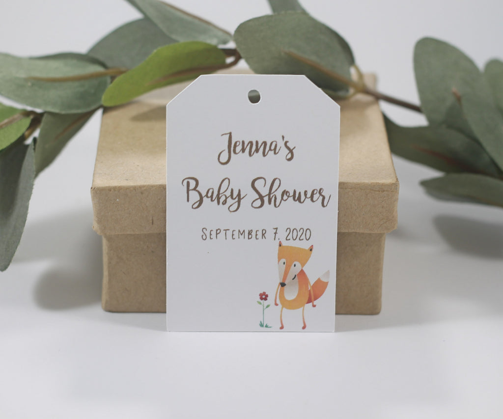 Personalized Baby Shower Tags with Fox - Brown Text- 20pc