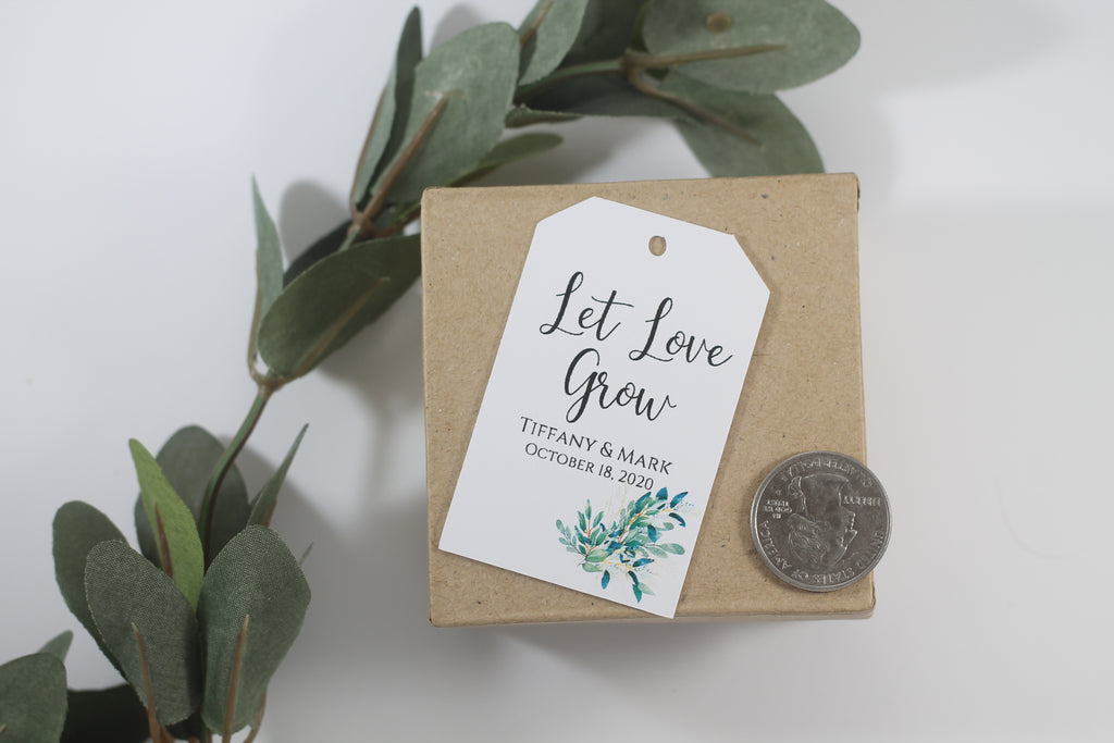 Wedding Favor Tags - Let Love Grow - Greenery - White - 20pc