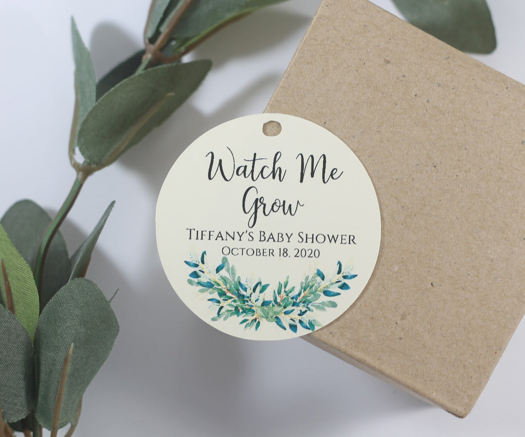 Personalized Baby Shower Tags with Greenery - Watch Me Grow - Cream - 20pc