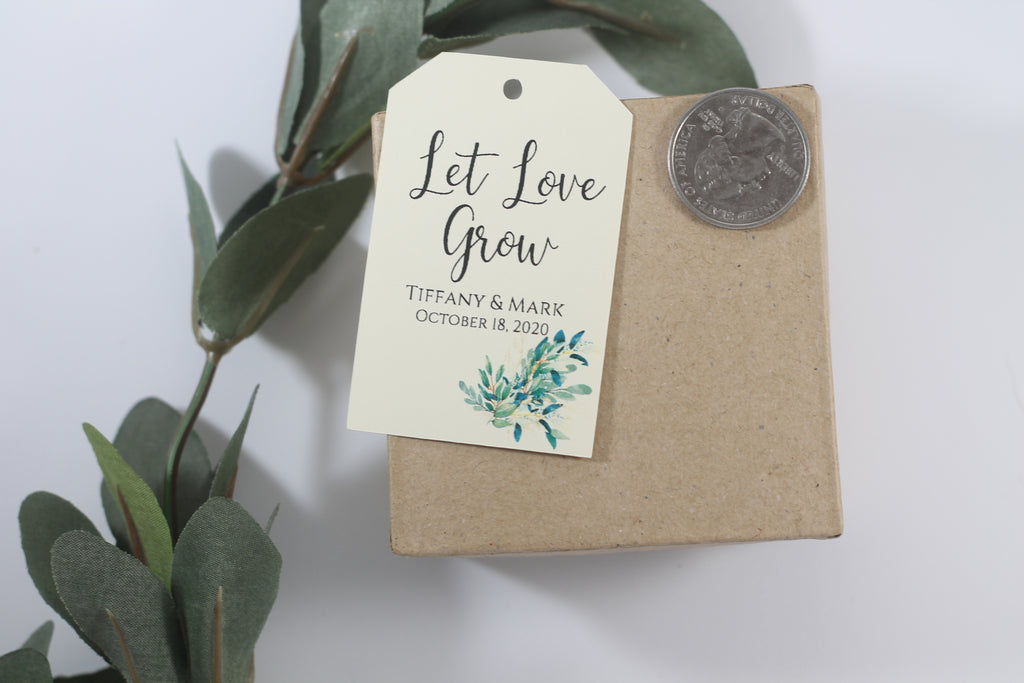 Wedding Favor Tags - Let Love Grow - Greenery - Cream - 20pc