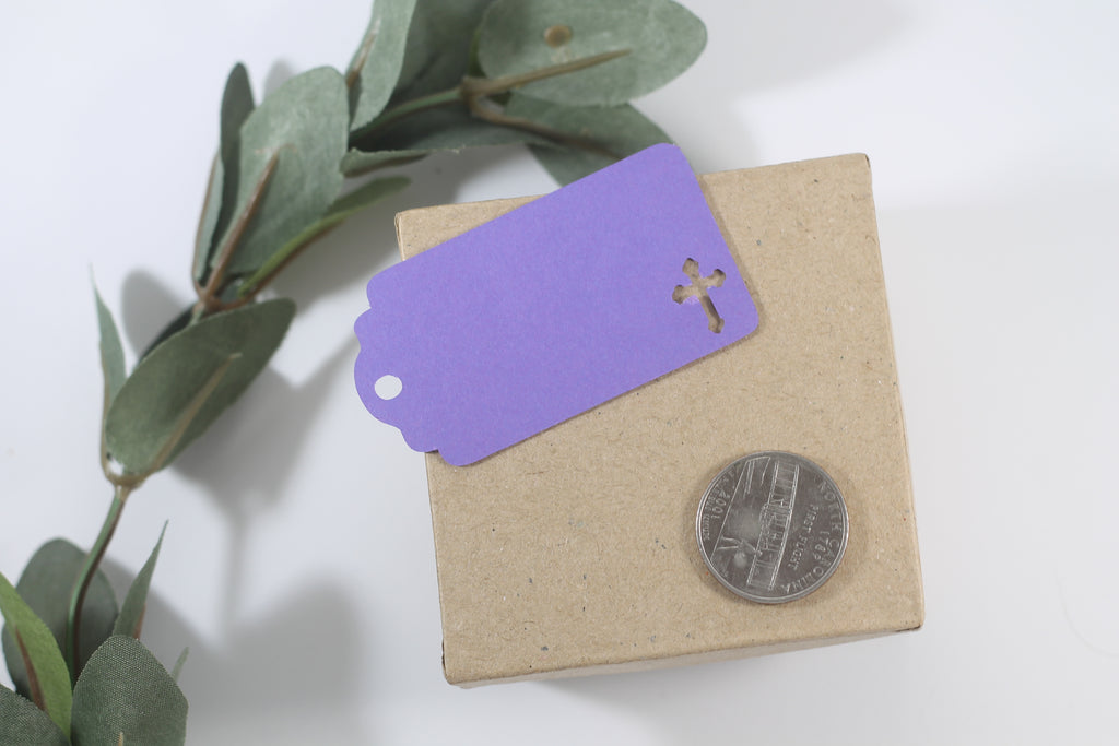 Small Baptism Tags with Cross - God Bless - Purple - 20pc-Baptism Favor Tags-The Paper Medley