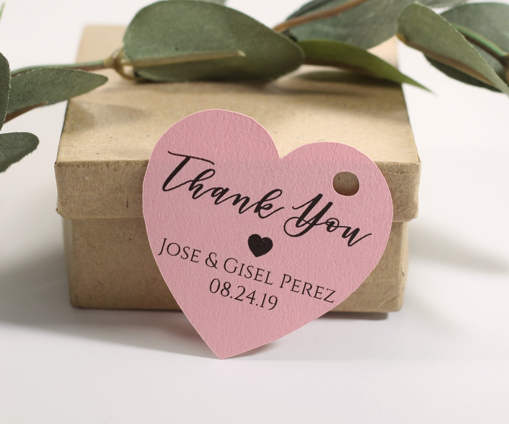 Personalized Wedding Tags  -  Heart Shape - Thank You - Light Pink - 20pc
