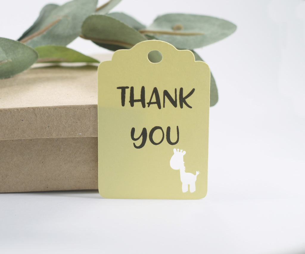 Kids Party Tags with Giraffe - Thank You - Yellow - 20pc