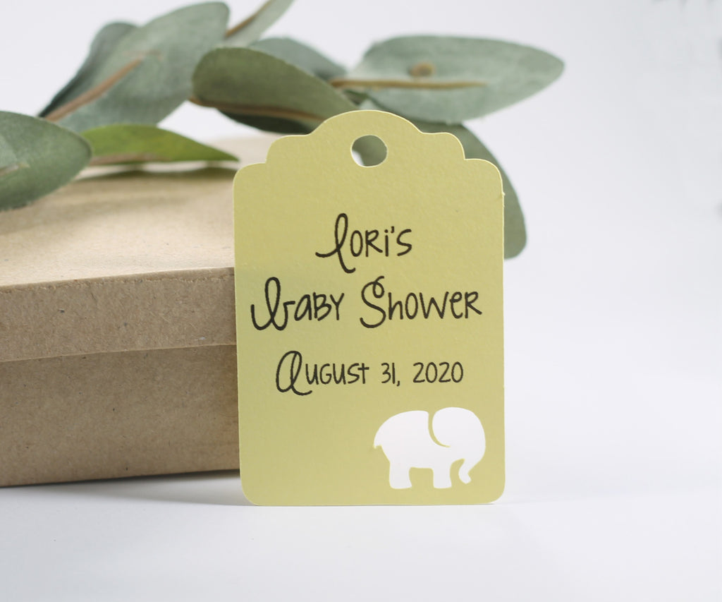 Custom Baby Shower Tags with Elephant - Yellow - 20pc