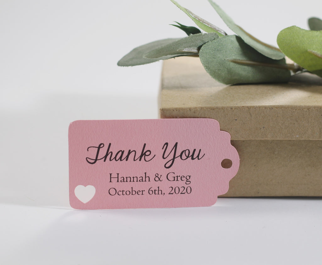 Small Personalized Wedding Tags  - Thank You - Light Pink - 20pc