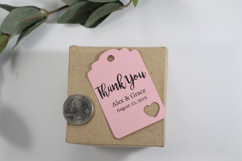 Custom Wedding Tags with Heart - Thank You - Light Pink - 20pc