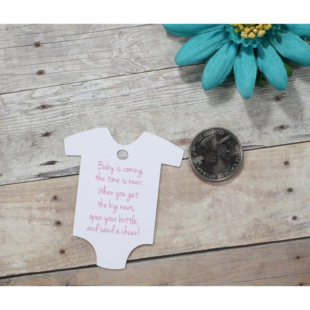 Baby Shower Tags in One Piece Shape - Baby is Coming - Pink Text - 20pc-Baby Shower Tags-The Paper Medley