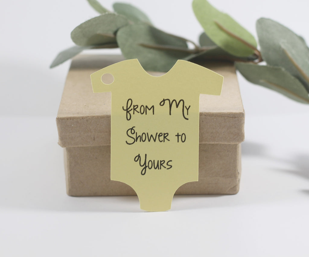 Baby Shower Tags -  One Piece Shape - From My Shower To Yours Tags - Yellow - 20pc