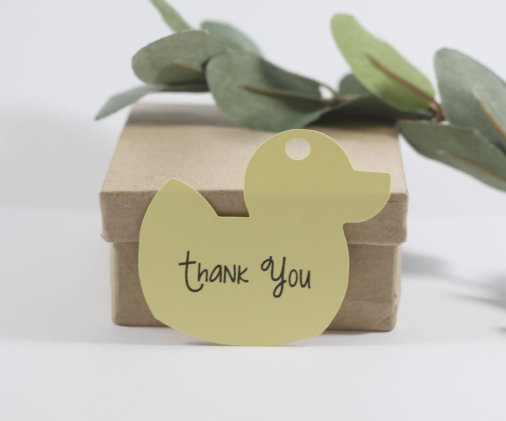 Baby Shower Tags - Duck Shape - Thank You - Yellow - 20pc